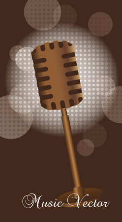 old microphone over brown background Vector