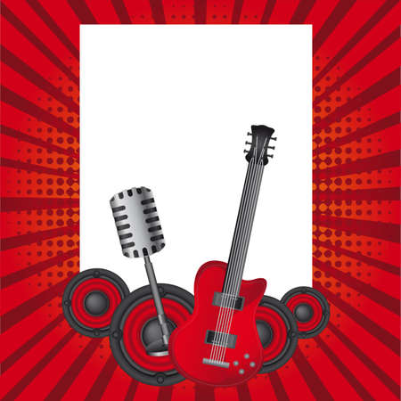 potentiometer: guitar, old microphone and speakers background. Illustration