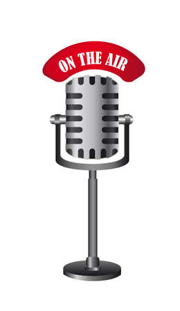 old microphone isolated, on the air.  Vector