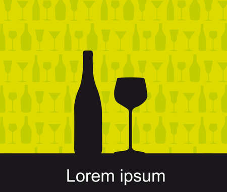 silhouette wine bottle and wine cup over green background.  Vector