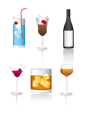 six beverages with shadow background Vector