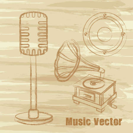 old microphone, gramophone and speaker, grunge. Vector
