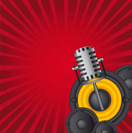 musicals instruments over red background Vector