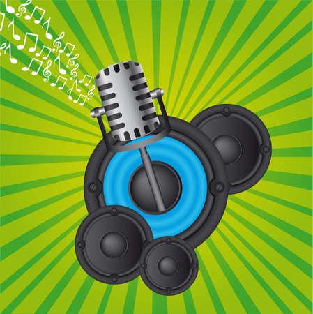 sound system: altavoces y el micr�fono sobre fondo verde