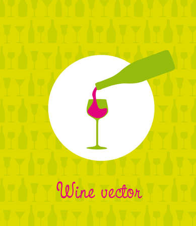 colorful wine bottle and cup over green background. Vector