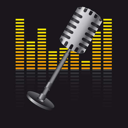 old microphone with digital equalizer over black background Stock Vector - 12939572