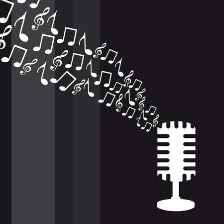 old microphone with music notes over gray background Stock Vector - 12939578