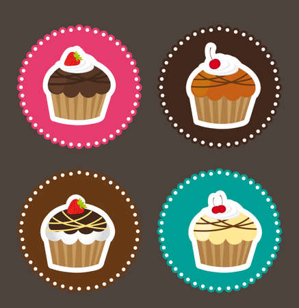 cupcake illustration: four cute cakes with tags over brown background Illustration