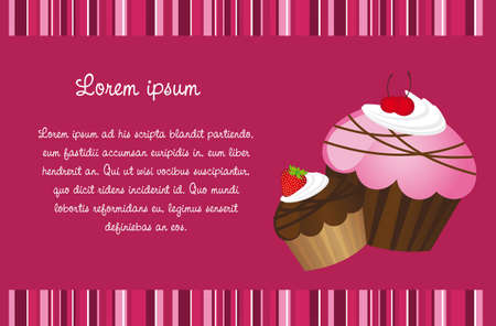 cute cupe cakes card with stripes, background Vector