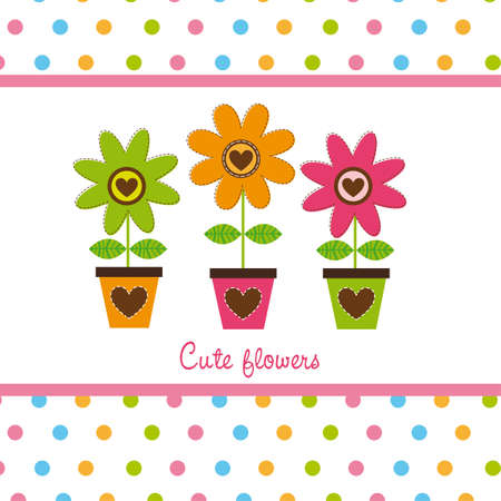 cute flowers with dots, cute card Stock Vector - 12939576
