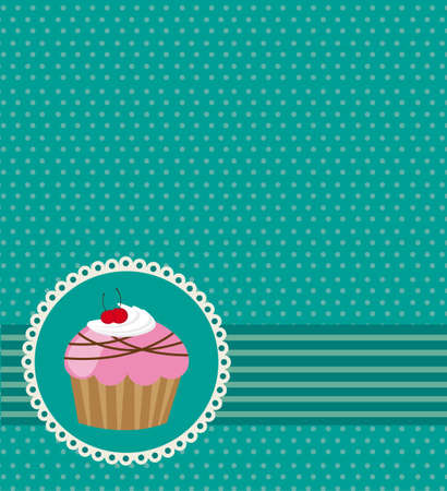 cute card with cup cake, aquamarine.  Vector