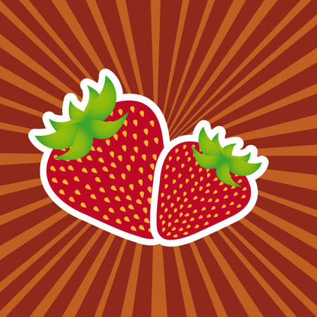 cute strawberry over red background Stock Vector - 12939682