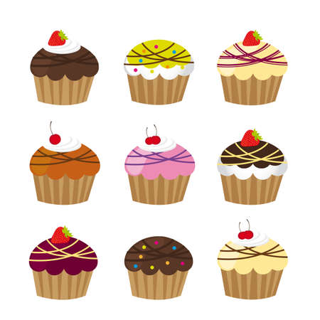 cup cakes isolated ove white background Vector