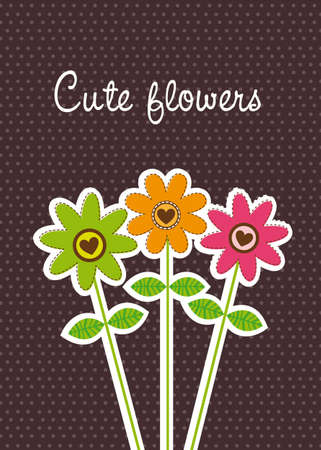 cute flowers over brown background Vector