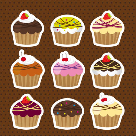 cute cakes stickers over brown background Vector