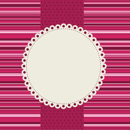 cute card with pink stripes background. Vector