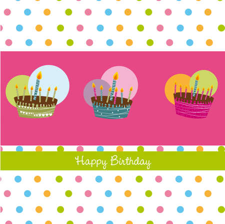 happy birthday card with cakes Vector
