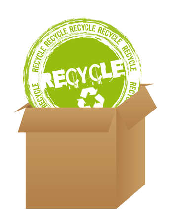 recycle stamp over box over white background Stock Vector - 12939670