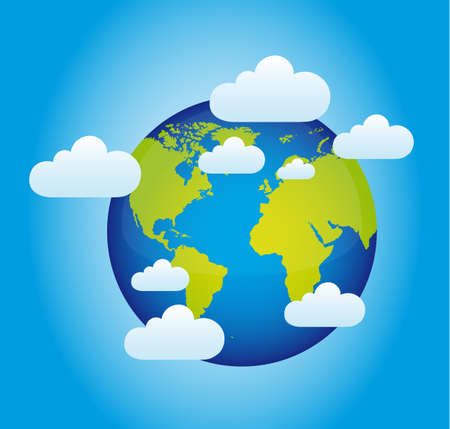 planet with clouds over blue background Vector