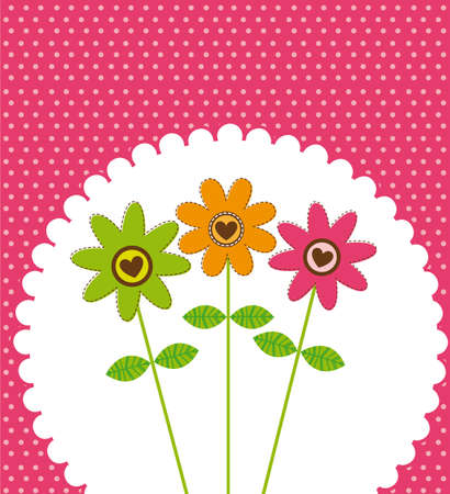 cute flowrer over pink background Vector