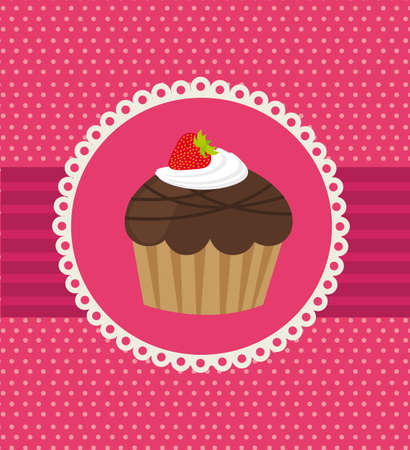 cup cake over pink background Vector