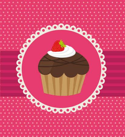 torta panna: Dolce su sfondo rosa Vettoriali