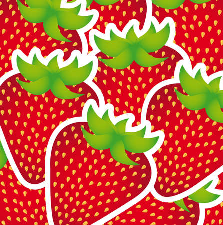 cute strawberries cartoons background, stickers. Vector