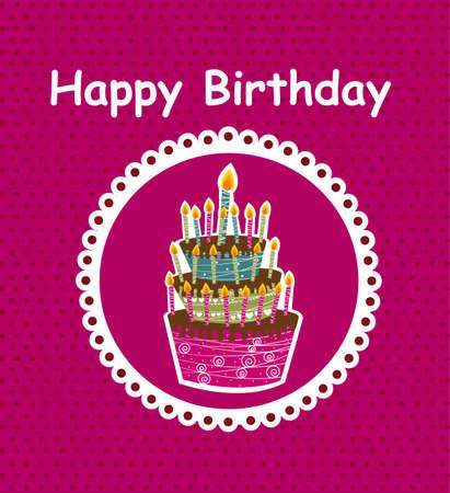 carta di felice compleanno con sfondo torta