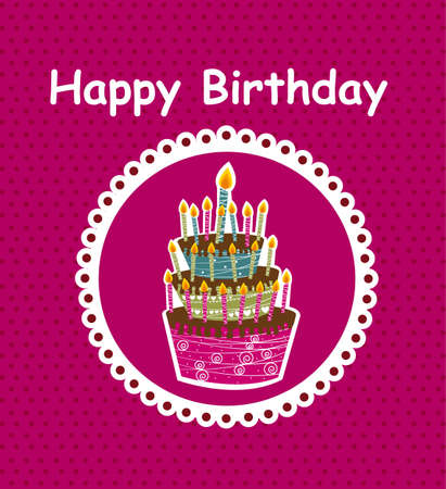 happy birthday  card with cake background Vector