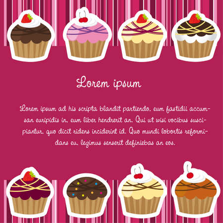cute cup cakes with stirpe frames over dark pink Vector