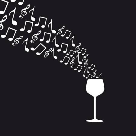 iconos de música: taza de vino con notas musicales sobre fondo negro Vectores