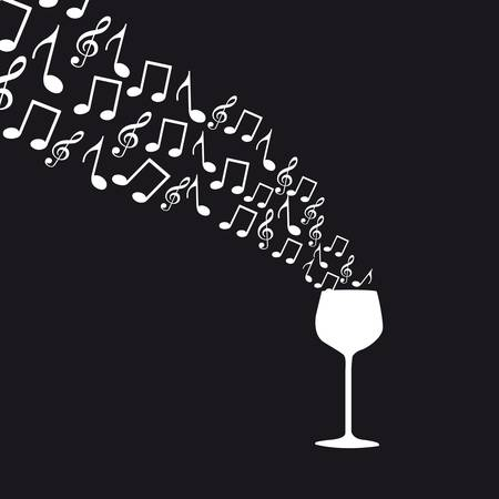 wine bar: wine cup with music notes over black background