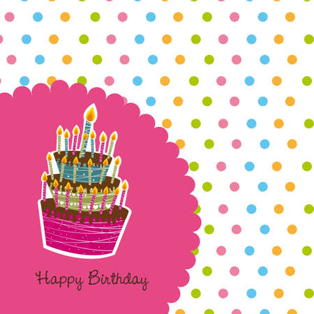 happy birthday card with cute cake background Vector