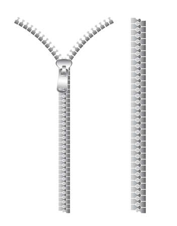 zipper: silver zip isolated over white background Illustration