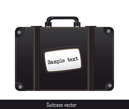 black suitcase isolated ove white background Illustration