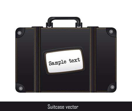 zwarte koffer geà ¯ soleerd ove witte achtergrond Vector Illustratie