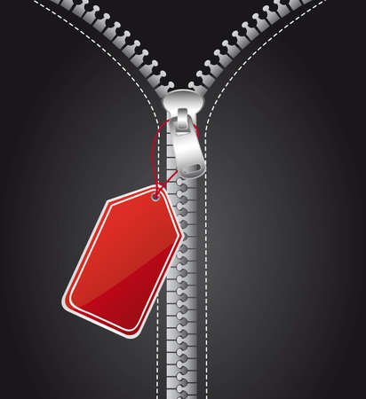 silver zip with red tag, background Vector