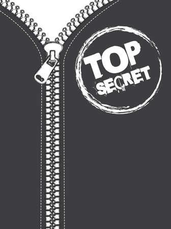 gray jacket with zip, top secret stamp  Vector