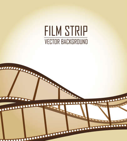 brown old film strips over brown background Vector