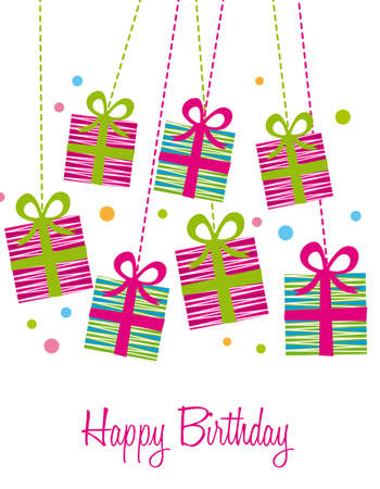 trendy: cute gifts over white background, birthday card. vector