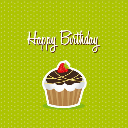 cute cup cake over green background. happy birthday. vector