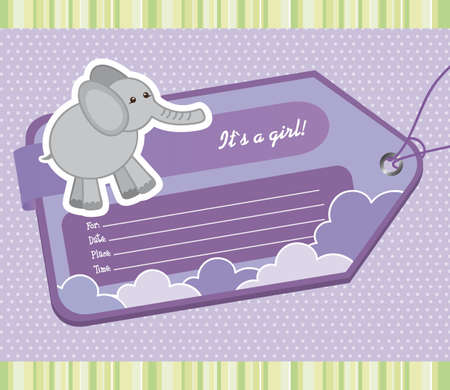 violet baby shower tag with elephant. vector illustration Vector