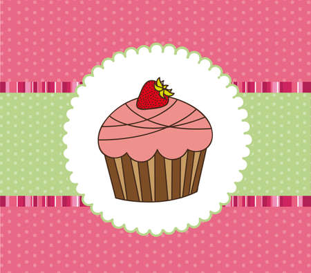 cute cup cake over greeting card. vector illustration Vector