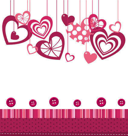 hearts  with pink cute frame over white background. vector Vector