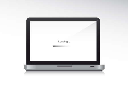 front loading: laptop front with shadow, loading. vector illustration