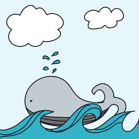 cute whale over sea cartoon backgroun. vector illustration Vector