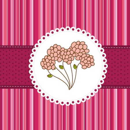 cute flower over greeting card, background. vector Vector