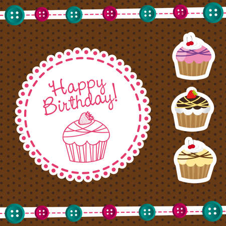 cute cakes with label happy birthday. vector illustration
