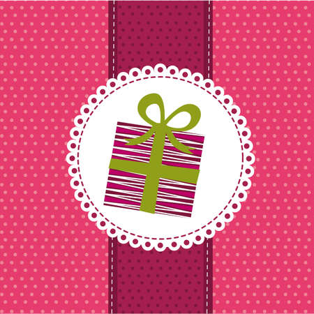 cute gift over pink greenting card. vector illustration Vector