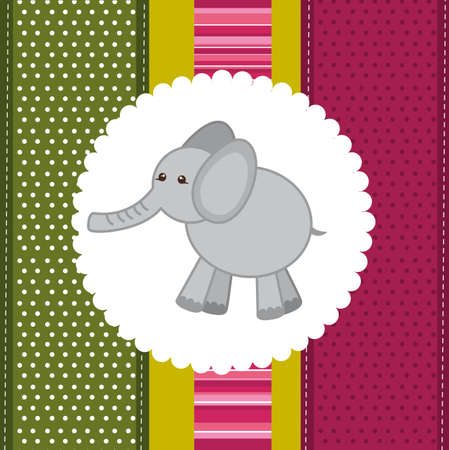 cute elephant over  background card. vector illustration Vector
